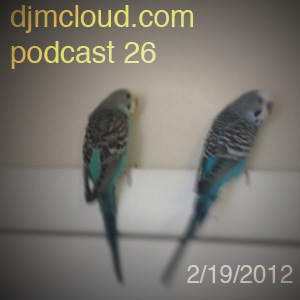 podcast artwork featuring Belle and Dodger the blue parakeets
